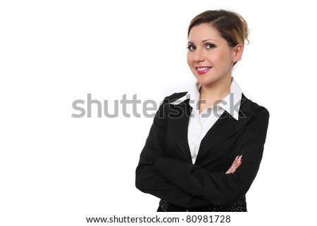 Attractive businesswoman with her arms crossed on a white background - stock photo