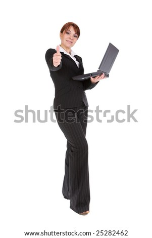 attractive businesswoman with laptop. over white background