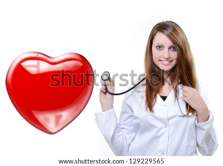 attractive cardiologist listening heartbeat isolated over a white background - stock photo