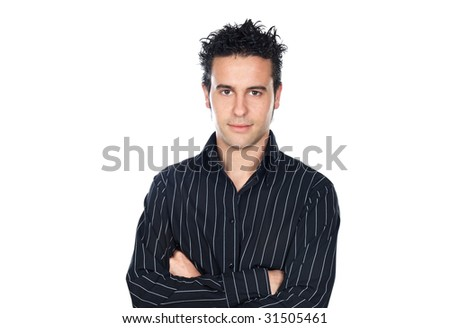 attractive casual boy a over white background