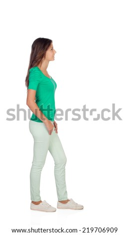 Attractive casual girl in green isolated on a white background - stock photo