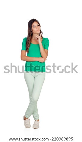 Attractive casual girl in green thinking isolated on a white background - stock photo