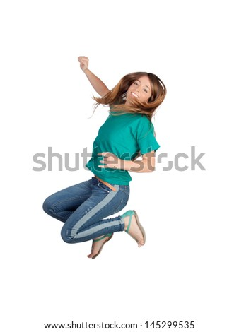 Attractive casual girl jumping isolated on white background