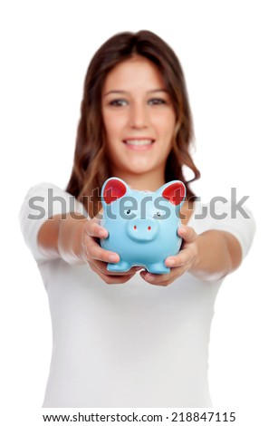 Attractive casual girl with a blue moneybox isolated on white