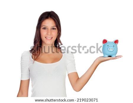 Attractive casual girl with a blue moneybox isolated on white - stock photo