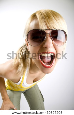 attractive casual woman screaming