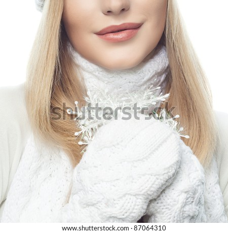attractive caucasian blond  woman portrait in warm clothing isolated on white - stock photo