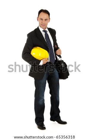 Attractive caucasian engineer, businessman holding safety helmet and carrying his briefcase. Studio shot. White background. - stock photo