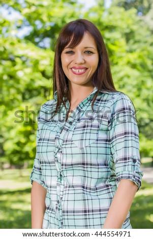 Attractive caucasian female enjoying nature. - stock photo