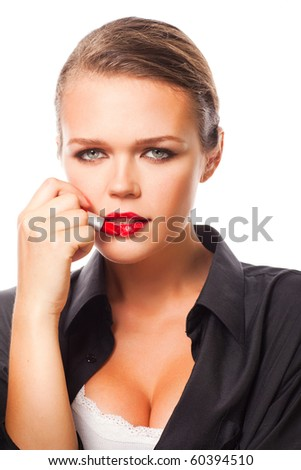 attractive caucasian woman holding lipstick isolated on white background - stock photo