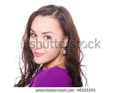 attractive caucasian woman with healthy smile isolated on white - stock photo