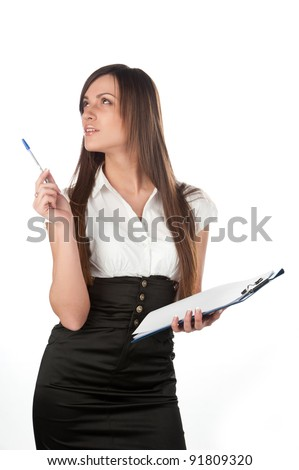 Attractive caucasian young business  woman with tablet, white background studio shot of emotional business woman with paper tablet on white background