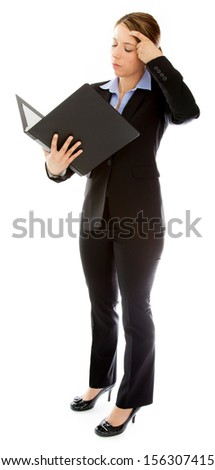 Attractive caucasion business woman in her 30s shot in studio isolated on a white background - stock photo