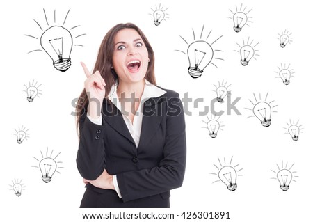 Attractive cheerful business woman having a revelation and pointing up as idea concept with lightbulb marks on white background - stock photo