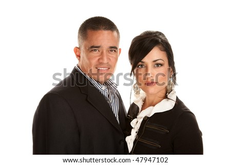 Attractive cheerful Hispanic couple on white background - stock photo
