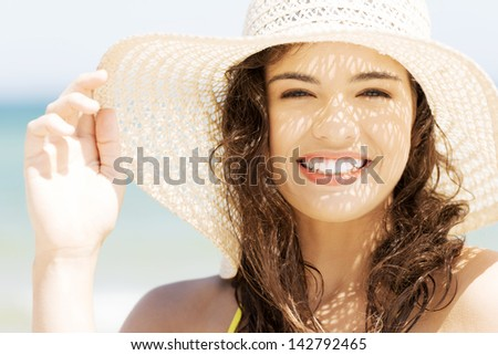 Attractive cheerful summer woman portrait. - stock photo
