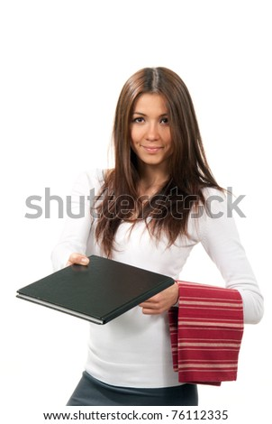 Attractive cheerful waitress giving a book menu and holding serviette hanging over the hand on a white background