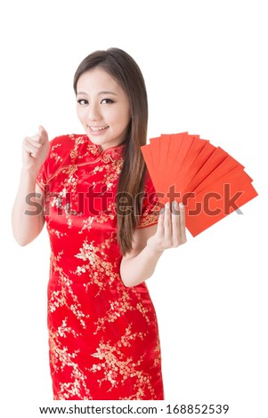 Attractive Chinese woman dress traditional cheongsam and hold red envelope, closeup portrait on white background. - stock photo