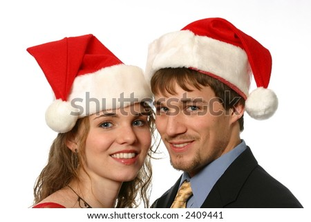 Attractive Christmas Couple - stock photo