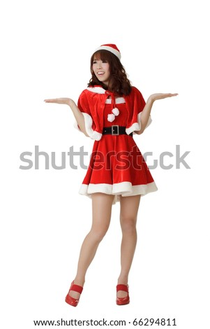 Attractive Christmas girl wear Santa Claus clothes open arms and feel surprised isolated on white. - stock photo