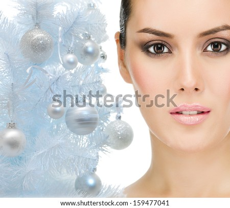 attractive closeup caucasian woman portrait isolated on white background face macro looking at camera skin eyes - stock photo