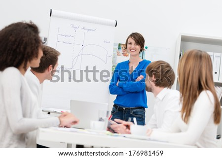 Attractive confident female in house corporate trainer giving a presentation to a group of businesspeople using a flipchart - stock photo