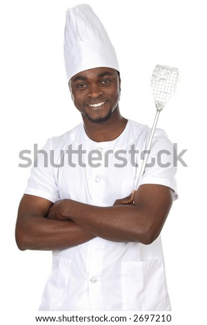 attractive cook african a over white background - stock photo