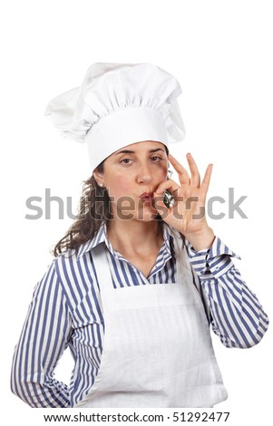Attractive cook woman making deliciousness gesture isolated on white background - stock photo