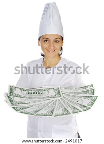 attractive cook woman saving money in its purchases and meals a over white background