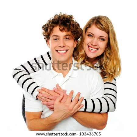 Attractive couple being playful against white background - stock photo