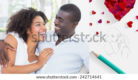 Attractive couple cuddling on the couch against sketch of kissing couple with pencil - stock photo