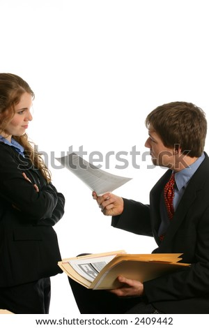 Attractive couple discussing business deal - stock photo