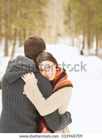 Attractive couple in winter