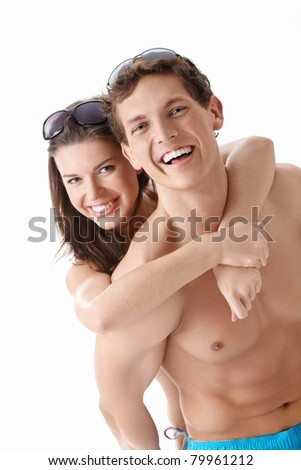 Attractive couple on a white background - stock photo