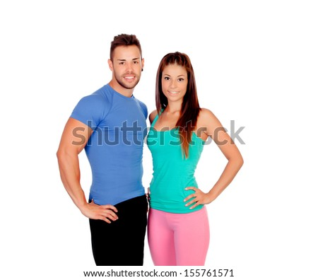 Attractive couple training isolated on a white background - stock photo