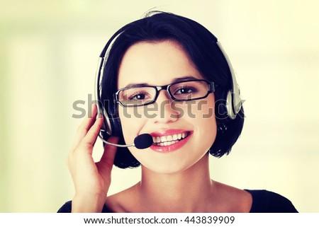 Attractive customer support representative - stock photo