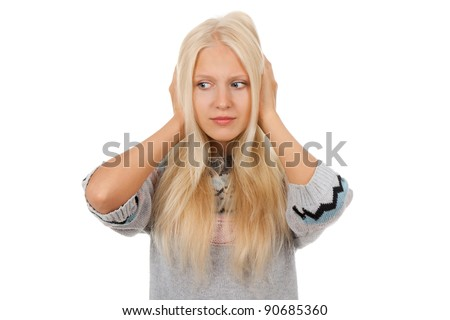 attractive depressed teenage girl hold hands on head, wear knitted warm sweater, isolated over white background concept of sad young pretty woman, problem worried hopeless student - stock photo