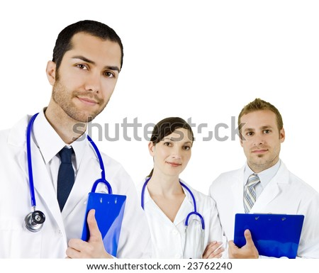 Attractive diverse doctors isolated on white - stock photo