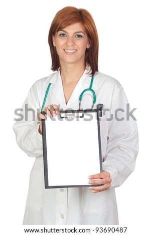 Attractive doctor with a clipboard isolated on a over white background