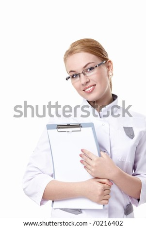 Attractive doctor with a clipboard on a white background