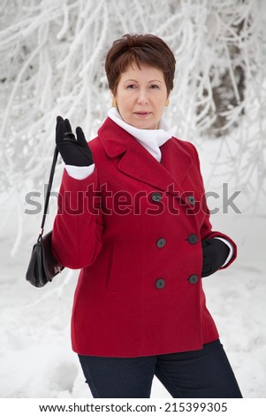 Woman Red Coat Stock Photos Royalty-Free Images & Vectors