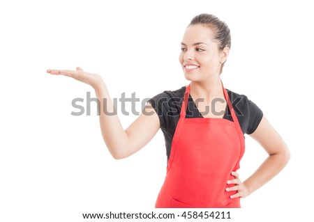 Attractive employee showing shomething on her palm or holding copyspace isolated on white background - stock photo