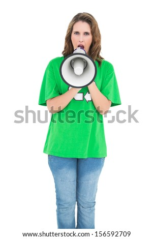 Attractive environmental activist screaming in a megaphone on white background