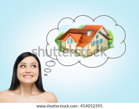 Attractive european woman thinking about mortgage on concrete background. Real estate concept - stock photo