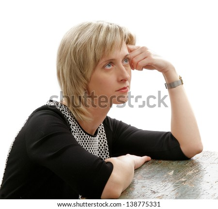 Attractive Exhausted Tired Woman with Blond Hair Thinking about her Problems - stock photo