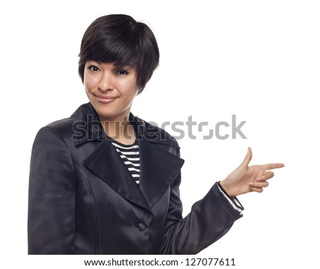 Attractive Expressive Mixed Race Woman Isolated on a White Background. - stock photo