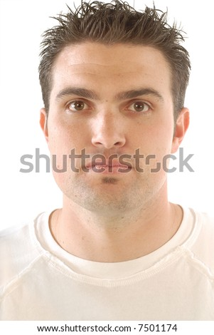 Attractive face of a young male college student; isolated on white - stock photo