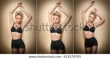 Attractive fair hair model with pantyhose and black bra posing provocatively. Fashion portrait of sensual short hair blonde, studio shot. Sensual female in black lingerie posing against wall. - stock photo