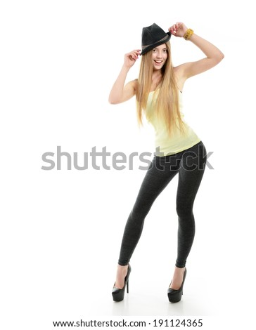 Attractive fashion girl, full length portrait isolated on white background  - stock photo