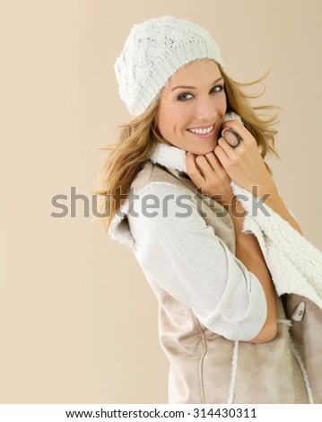 Attractive fashion woman with winter clothes, isolated - stock photo